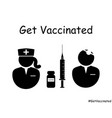 get vaccinated doctor and nurse icon eps vector image