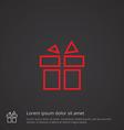 gift outline symbol red on dark background logo vector image