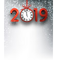 grey 2019 new year background with red clock and vector image vector image