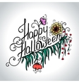 Halloween hand drawn card with skull in flowers vector image