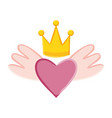 heart love with wings and crown pop art style vector image vector image
