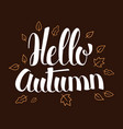 hello autumn calligraphy season banner design vector image