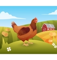 Hen standing on grass with farm on background vector image vector image