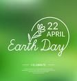 Linear Logo Earth Day vector image vector image