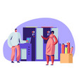 man and woman working in printing house vector image