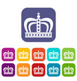 monarchy crown icons set flat vector image vector image