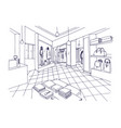 monochrome freehand sketch of clothing showroom vector image