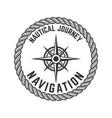 nautical journey emblem with rose wind design vector image