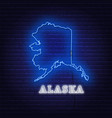 neon map state of alaska on a brick wall vector image