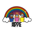 nice people hippies with rainbow and cloud vector image vector image