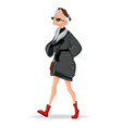 old lady fashion dressed cartoon character vector image