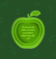 paper cut apple and outlined apples vector image vector image