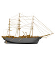 polygonal sailing ship side view 3d vector image vector image
