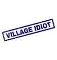 rectangle scratched village idiot stamp vector image vector image