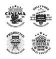 retro cinema set four black emblems vector image vector image