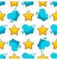 seamles pattern with cartoon cloud and star vector image vector image