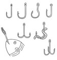 set of fishing hook vector image vector image
