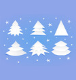 set of white blank christmas trees vector image vector image