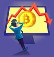 shocked businessman looking on bitcoin crash graph vector image