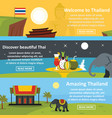 thailand travel banner horizontal set flat style vector image vector image