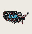 the cartoon map of usa vector image vector image