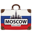 travel suitcase with russian flag and kremlin vector image vector image