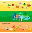 Vietnamese Culture Horizontal Flat Banners Set vector image vector image