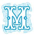 winter vintage letter M vector image vector image