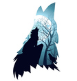Wolf Howling with Forest5 vector image vector image