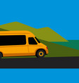 yellow minibus on seaside road vector image