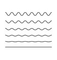 zigzag seamless wave lines set wavy wiggly black vector image