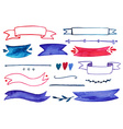 Set of watercolor ribbons and other decoration vector image