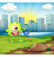 A monster watering the plant at the riverbank vector image vector image