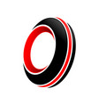 abstract spinning black tire red accents symbol vector image vector image