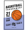 basketball tournament posters flyer vector image vector image