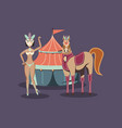 beautiful woman with tent and horse circus vector image
