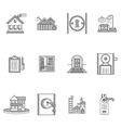 Black outline icons for rent real estate vector image vector image