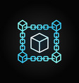 block chain cube blue concept line icon vector image vector image