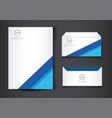 blue and white stationery template design vector image vector image