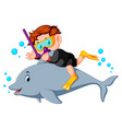 boy diving with dolphin vector image
