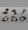 burn paper corners holes and borders set vector image
