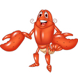 Cartoon happy lobster presenting isolated vector image vector image