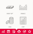 cash money and dynamics chart icons vector image vector image