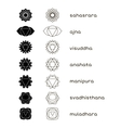 Chakras icons black and white vector image vector image