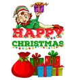 Christmas theme with elf and presents vector image vector image