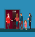 cinema hall entrance spectators and check-taker vector image