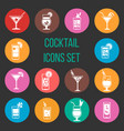Colorful cocktail icons set