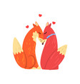 couple of red foxes in love two happy wild vector image vector image