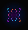 digital brain colorful linear icon on dark vector image