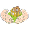 drawn colored humans hands holding house vector image vector image